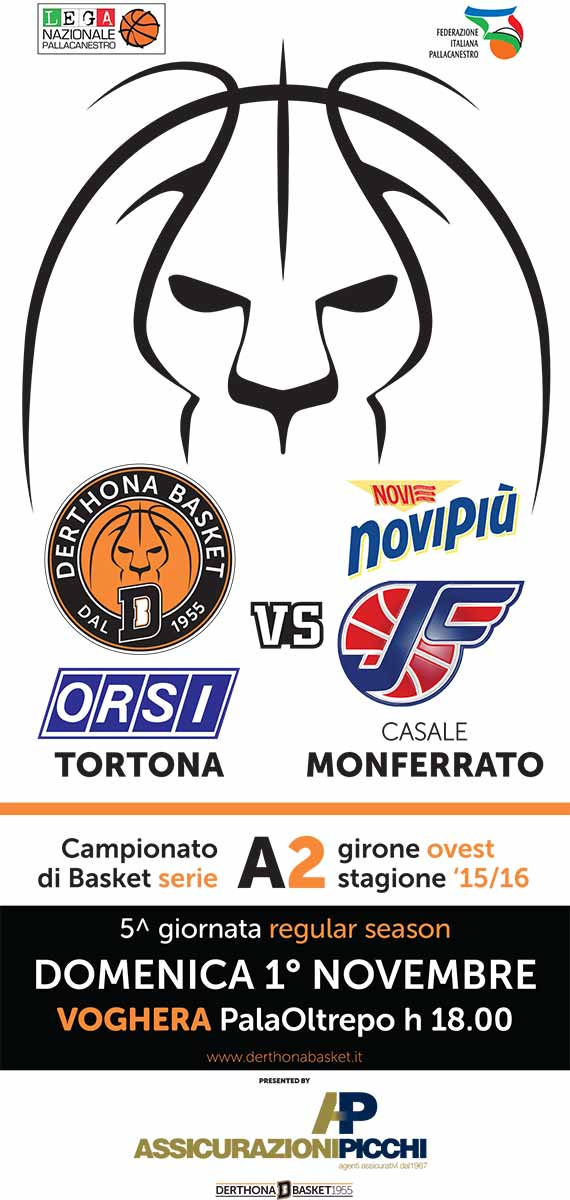 Derthona Basket VS Novipiù Casale Monferrato - derthonabasket.it