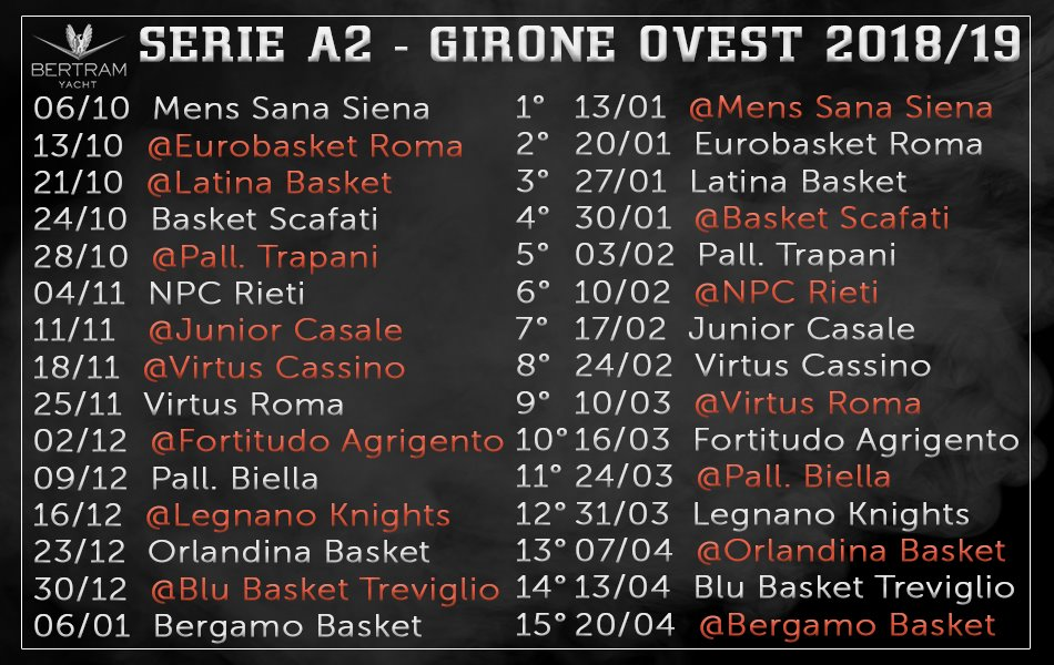 Calendario nuovo stagione 18-19